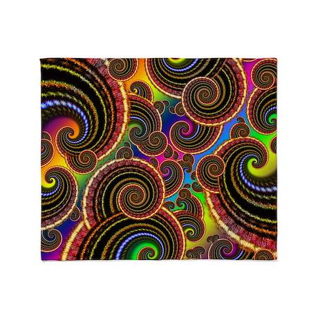 Funky Rainbow Swirl Pattern Throw Blanket