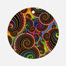 Funky Rainbow Swirl Pattern Ornament (Round)