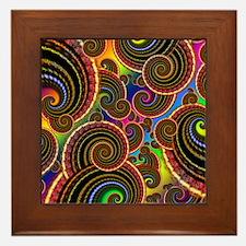 Funky Rainbow Swirl Pattern Framed Tile