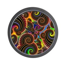 Funky Rainbow Swirl Pattern Wall Clock