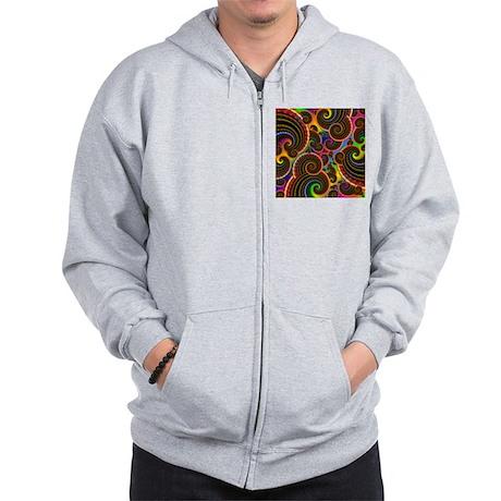 Funky Rainbow Swirl Pattern Zip Hoodie