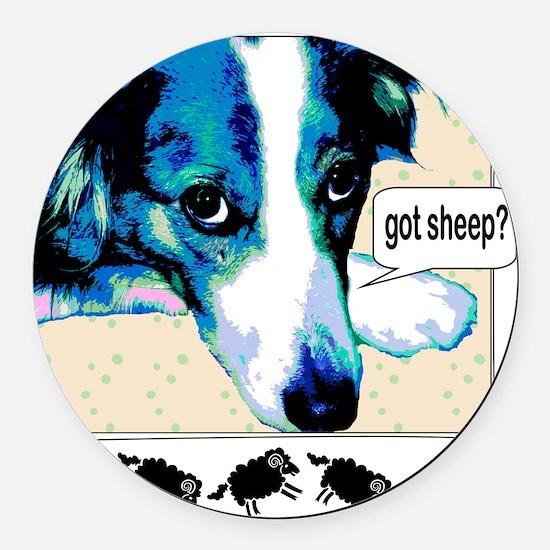 border collie got sheep2a.png Round Car Magnet