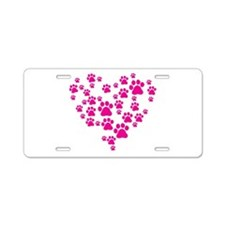 Heart of Paw Prints Aluminum License Plate