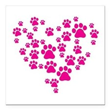 """Heart of Paw Prints Square Car Magnet 3"""" x 3"""""""