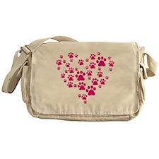 Heart of Paw Prints Messenger Bag