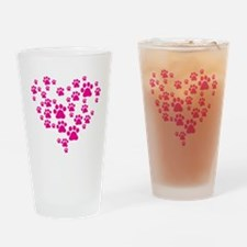 Heart of Paw Prints Drinking Glass