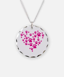 Heart of Paw Prints Necklace Circle Charm