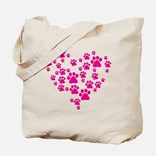 Heart of Paw Prints Tote Bag