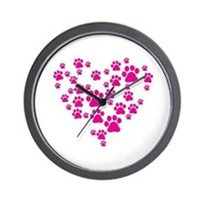 Heart of Paw Prints Wall Clock