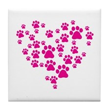 Heart of Paw Prints Tile Coaster