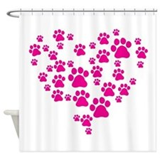 Heart of Paw Prints Shower Curtain
