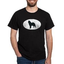 Norwegian Elkhound Silhouette Black T-Shirt