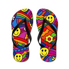 Hippie Smiley Rainbow Pattern Flip Flops