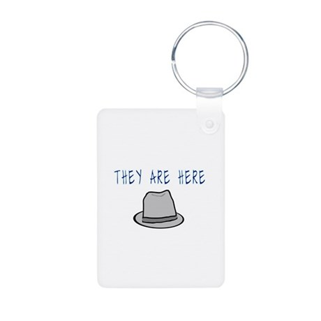 Observer Hat They Are Here Aluminum Photo Keychain