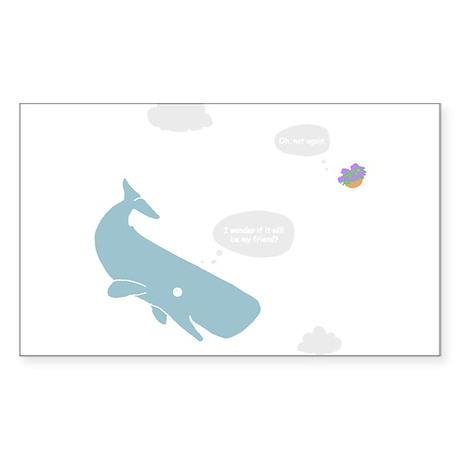 Hitchhiker Whale & Petunia Sticker (Rectangle)