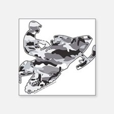 Camoflage Snowmobiler in Grey Rectangle Sticker