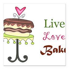 "Live Love Bake Square Car Magnet 3"" x 3"""