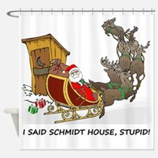 Schmidt House Cartoon Christmas Shower Curtain