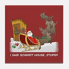Schmidt House Cartoon Christmas Tile Coaster