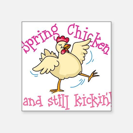 "Spring Chicken Square Sticker 3"" x 3"""