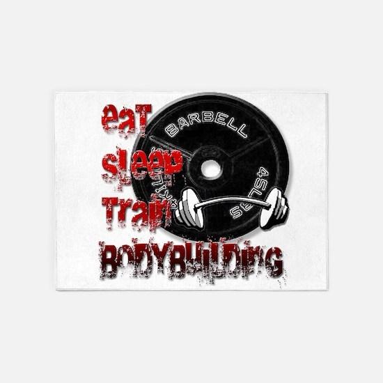 Eat sleep train bodybuilding 5'x7'Area Rug