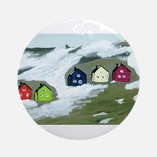 Colorful Winter Houses Ornament (Round)