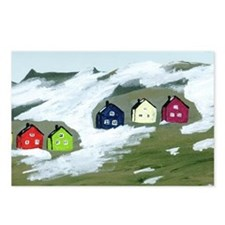 Colorful Winter Houses Postcards (Package of 8)