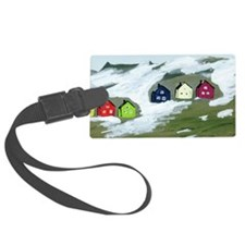 Colorful Winter Houses Luggage Tag