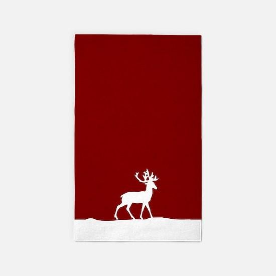 Deer In The Snow 3 X5 Area Rug