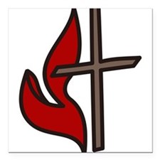 "Cross And Flame Square Car Magnet 3"" x 3"""
