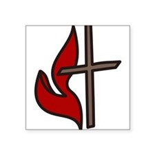 """Cross And Flame Square Sticker 3"""" x 3"""""""