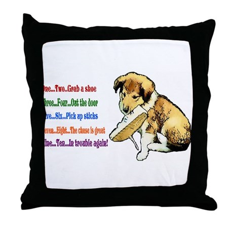 Collie Puppy / Nursery Rhyme Throw Pillow