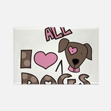 I Love All Dogs Rectangle Magnet