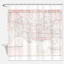 Vintage Toronto Streetcar Map (1912 Shower Curtain