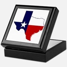 Texas Flag on Texas Outline Keepsake Box