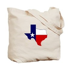 Texas Flag on Texas Outline Tote Bag
