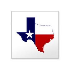 "Texas Flag on Texas Outline Square Sticker 3"" x 3"""