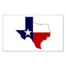 Texas Flag On Texas Outline Sticker (rectangle)