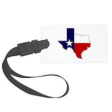 Texas Flag on Texas Outline Luggage Tag