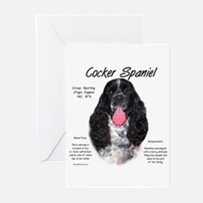 Parti b&w Cocker Spaniel Greeting Cards (Package o