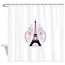Eiffel Tower Gradient Swirl Shower Curtain