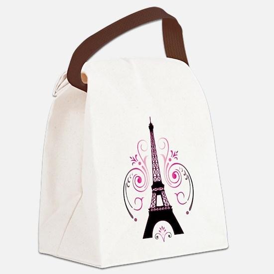 Eiffel Tower Gradient Swirl Canvas Lunch Bag