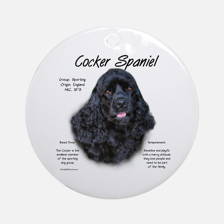 Black Cocker Spaniel Ornament (Round)