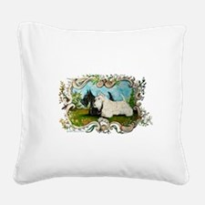 black and white March 11.png Square Canvas Pillow