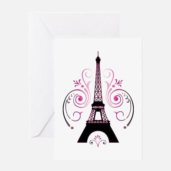 Eiffel Tower Gradient Swirl Greeting Card