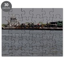 Puzzle:Tugboat With Long Barge And Equipment