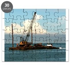 Puzzle: Tugboat With Barge And Equipment