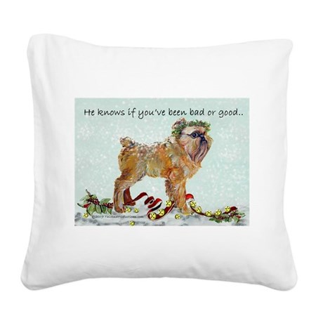 Brussels Griffon Christmas Square Canvas Pillow