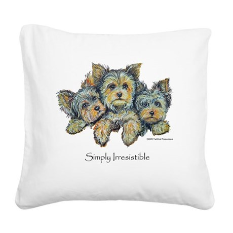 Yorkie Pups 10x10.png Square Canvas Pillow