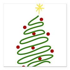 "Christmas Tree Square Car Magnet 3"" x 3"""
